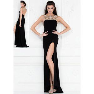 Black and Gold Beaded Evening Gown